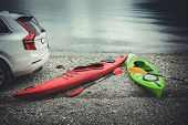 Summer Kayaking Spot And The Rocky Beach. Sport And Recreation Theme. Norway, Europe. poster