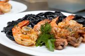 Black Spaghetti With Shrimps poster