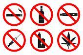 No Smoking, No Vaping, No Hemp, No Drugs, No Alcohol Sign. Vector. poster