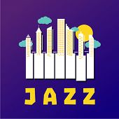 Jazz Music Poster With Piano Keys And City Buildings. Vector Illustration. poster