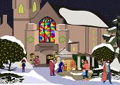 Christian Church In New Year. Winter Landscape Of Chuerch. Church In Christmas Night. Vector Illustr poster
