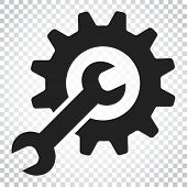 Service Tools Flat Vector Icon. Cogwheel With Wrench Symbol Logo poster