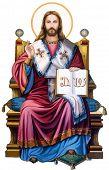 Jesus Christ Sacred Love Peace Faith Holy Heart Spirit Seated Trono Illustration poster