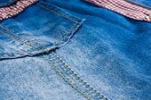 Blue Washed Faded Jeans Texture With Seams, Clasps, Buttons And Rivets poster