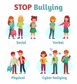 Stop School Bullying. Aggressive Teen Bully, Schooler Verbal Aggression And Teenage Violence Or Bull poster