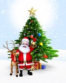 image of rudolph  - Santa with reindeer standing near Christmas tree - JPG