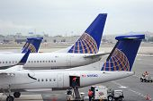 NEWARK, NJ - OCT 5: United Airlines Logo on airplane tail wing at airport on October 5, 2011 in Newa