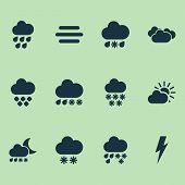 Climate Icons Set With Winter, Hailstone, Fog And Other Hail Elements. Isolated  Illustration Climat poster