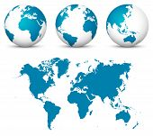 Blue 3d Earth / Globe Set. World Vector Collection With Flat Undistorted 2d Earth Map In Blue Color. poster