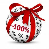 Discount -100% - Free! Present / Gift Sign. Symbol For Give-away Or Gratis Products With 100 (one Hu poster