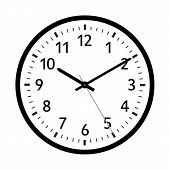 Simple 2d Vector Retro Clock Icon With Classical 10 Past 10 Adjustment. With Black Clock Face And Bl poster