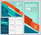 Trifold Business Brochure. 3 Leaflet Cover And Pages Design Template Business Magazine With Place Fo poster