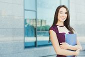Smiling Successful Businesswoman With Notepad Outdoors. Caucasian Executive Taking A City Walk At Lu poster