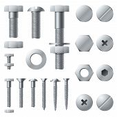 Metal Screws. Bolt Screw Nut Rivet Head Steel Construction Elements. Grey Realistic Bolts Isolated V poster