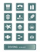 picture of fish icon  - scuba diving and underwater life vector icon - JPG