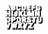3d Font Alphabet. Poster Style, Sanserif Font. Letters And Numbers. Vector Illustration poster