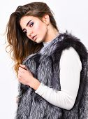 Boutique Selling Fur. Girl Makeup Face Long Hairstyle Wear Fur Vest White Background. Luxury Fur Acc poster