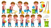 Boy Kindergarten Kid Poses Set Vector. Little Child. Helping On The Garden. Cleaning. Lifestyle. For poster