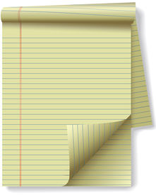 stock photo of stenography  - Pages of yellow legal ruled notebook pad paper  - JPG