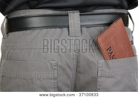 passport in back pocket close-up