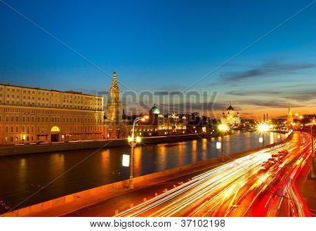 Embankment of the Moskva River near the Kremlin. Located between the Lenivka street and Vasilevsky descent (Red Square)