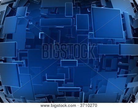 Fantasy Alien Blue Cubes In Spherical Arrange