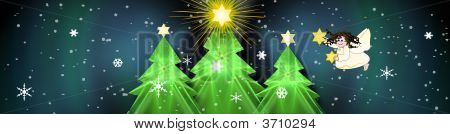 Christmas Banner With Bright Stars