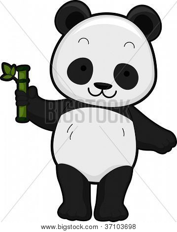 Illustration Featuring the Front View of a Giant Panda Holding a Bamboo Shoot
