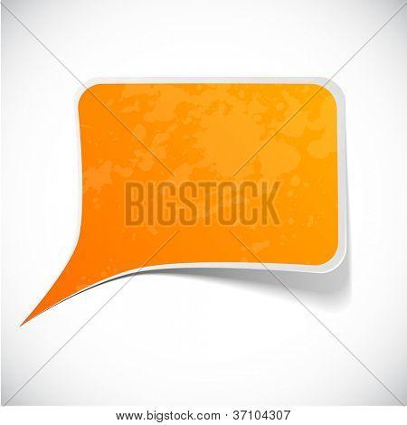 Vector illustration of Orange paper splash speech.