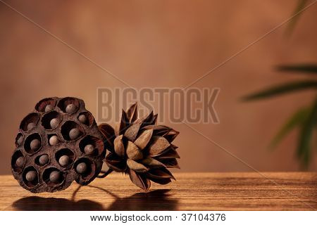 Aromatic lotus seedpod on table