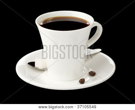 cup of coffee isolated on black background