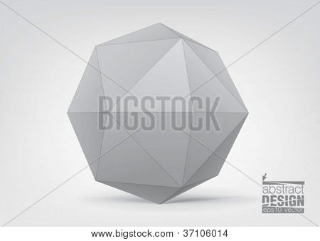 White polyhedron for graphic design. You can change colors, eps10 vector