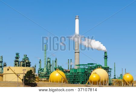 Oil refinery belching smoke