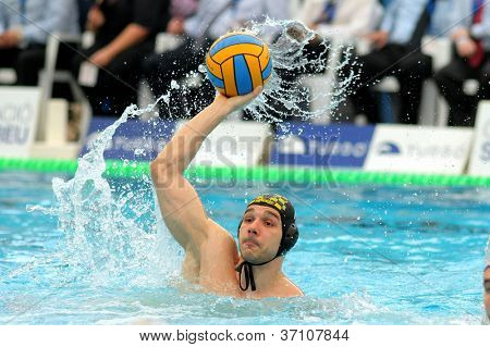 BARCELONA - FEB, 19: Serbian waterpolo player Marko Cuk of CN Sabadell in action during the Spanish kings cup Final match in Sant Andreu swimming pool, February 19, 2012 in Barcelona, Spain