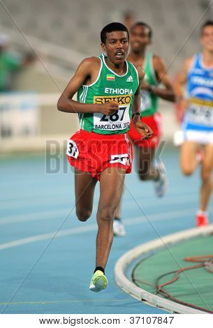BARCELONA - JULY,10: Yigrem Demelash of Ethiopia during 10000 Metres event of the 20th World Junior Athletics Championships at the Olympic Stadium on July 10, 2012 in Barcelona, Spain