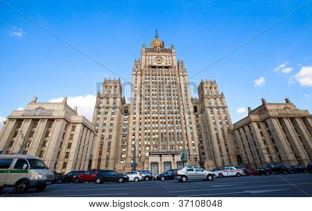 MOSCOW - SEPTEMBER 19: Building of the Ministry of Foreign Affairs of the Russian Federation on Sep 19, 2012, Moscow. One of seven buildings on the list of Stalin's skyscrapers it was built 1948-1953.