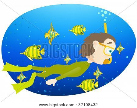 Cartoon Character Cute Teenager Isolated on White Background. Diver. Vector EPS 10.