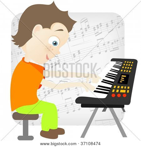 Cartoon Character Cute Teenager Isolated on White Background. Pianist. Vector EPS 10.