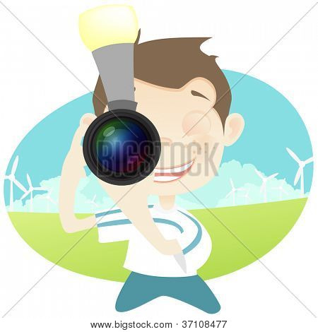 Cartoon Character Cute Teenager Isolated on White Background. Photographer. Vector EPS 10.