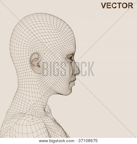 Vector eps concept or conceptual 3D wireframe human female head isolated on beige background as metaphor for technology,cyborg,digital,virtual,avatar,science,fiction,future,mesh,vintage abstract