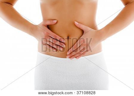 Woman massaging pain stomach isolated on white background