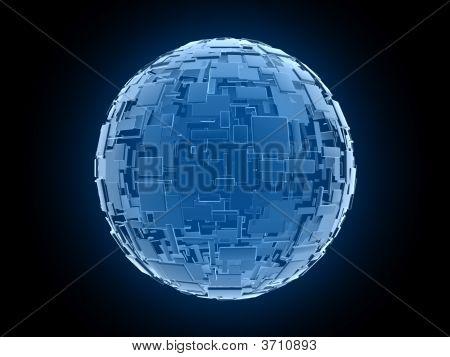 Lots Of Fantasy Blue Cubes In Global Arrangement
