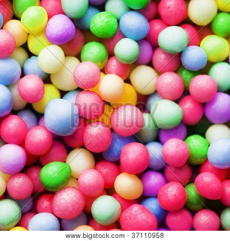 Sugar sprinkle dots or sugar balls, decoration for confectionery. High  magnification macro.
