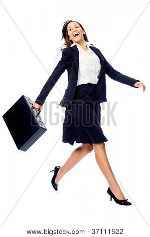 Businesswoman in a hurry rushing and running with briefcase isolated on white background