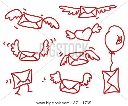 Flying messages - cartoon envelopes with wings