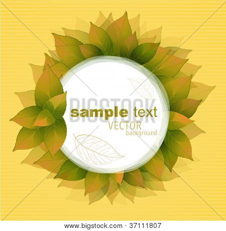 Autumn leaves vintage romantic frame. Vector.