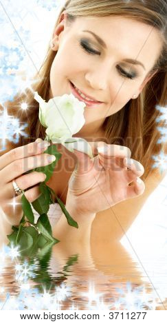 White Rose Woman In Water