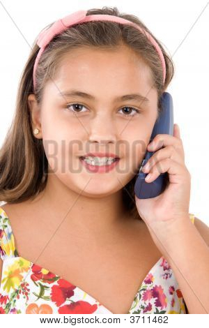 Adorable Girl Speaking By Phone