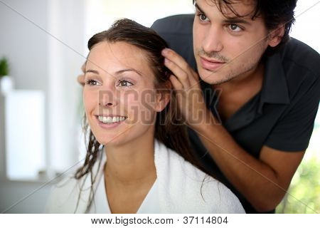 Portrait of woman at the hairdresser