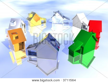 Ring Of Various Types Of 3D Houses